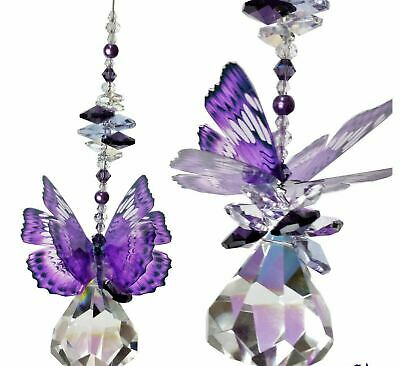 BUTTERFLY crystal suncatcher, window hanging rainbow prism crystals baby gift