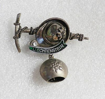 Vintage LIECHTENSTEIN Souvenir Pin with Dangling COW BELL  City Shield  Hat Pick