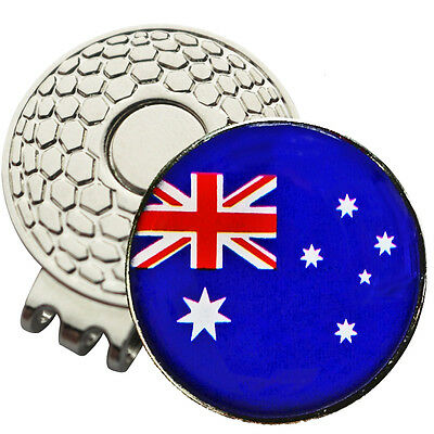 1 x New Magnetic Hat Clip + Aussie Flag Golf Ball Marker - For Golf Hat or Visor