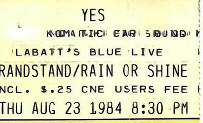 YES Ticket Stub. Aug 1984 CNE Grandstand, Toronto - 9012Live Tour