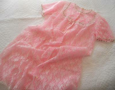 Vintage 1960's Irene White Lace Over Sheer Pink Nylon Negligee Brunch Coat 18