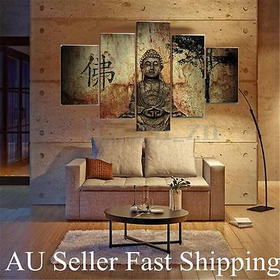 5Pcs Buddha Large Modern Abstract Canvas Art Oil Painting Wall Decor Unframed