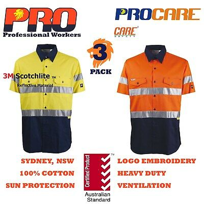 3 x Hi Vis Work Shirt vented cotton drill short sleeve CR3M Tape SAFETY WORKWEAR