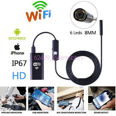 5m 8MM 6LED HD 720P Wifi Diagnostic Inspection Endoscope Tool For Android Iphone