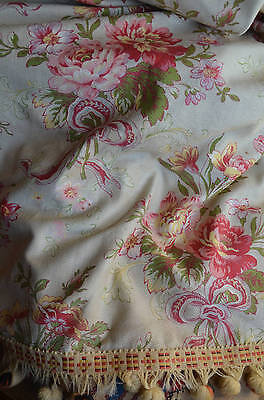 Antique French floral curtain panel roses and ribbons, greens and pinky reds