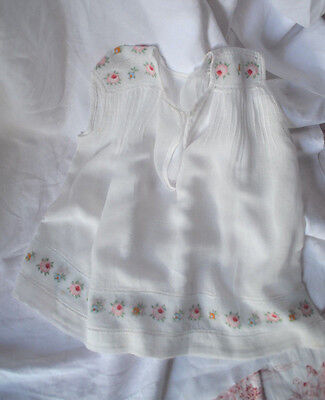antique French babies' dress, hand made, hand embroidered with rosebuds