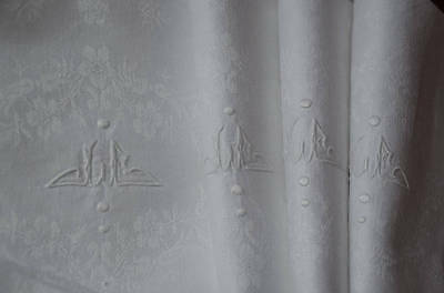 5 antique French pure linen damask napkins, JL monograms
