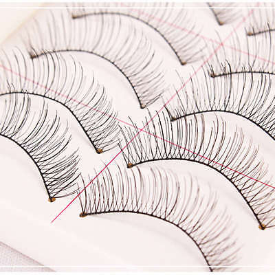 10 paire Naturel Long Faux Cils Volumineux Cil Noir Maquillage Fibres Eye lashes