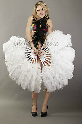 """A pair white Single layer Ostrich Feather fans 24"""" x 41"""" with carrying box"""