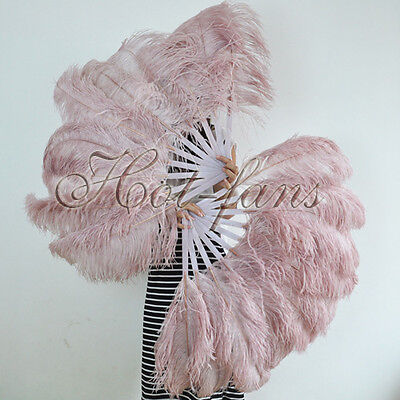 """A pair beige wood Single layer Ostrich Feather fans 24"""" x 41"""" with carrying box"""