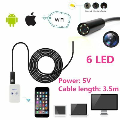 Waterproof WIFI Endoscope Borescope Snake Inspection Camera Scope Iphone Android