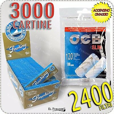 2400 Filtri OCB SLIM 6mm + 3000 Cartine SMOKING BLU CORTE - 50 LIBRETTI 1 BOX