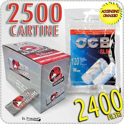 2400 Filtri OCB SLIM 6mm + 2500 Cartine ENJOY FREEDOM SILVER CORTE 50 Libretti