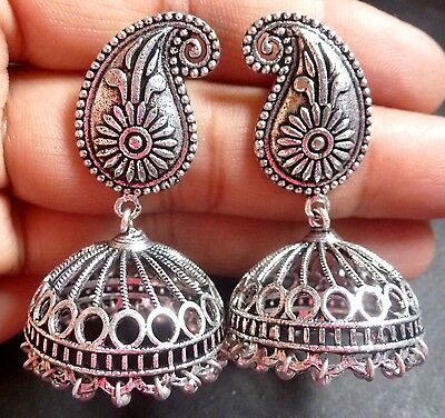 Antique Silver Plated Designer 2'' Long Indian Asian Vintage Jhumka Earrings