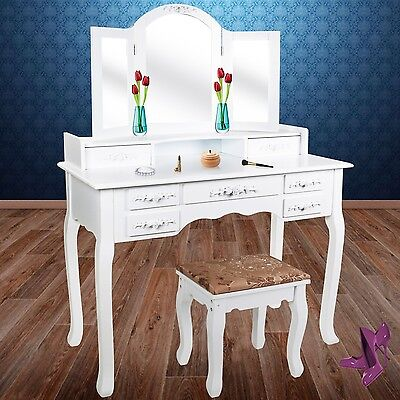 Kesser® Dressing Table ✓ mirrors ✓ drawers ✓ Make up Station | Color: White