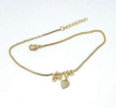 New 9CT Gold Filled Love  Box  Link Anklet  B35
