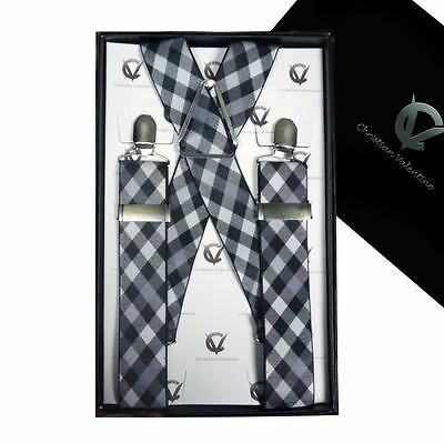Black & White Check X3.5cm Extra Large Braces Suspenders Men's Mens