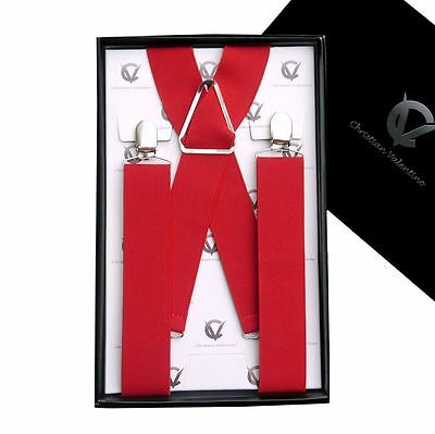 Men's Red X3.5cm Extra Large Braces Suspenders Mens