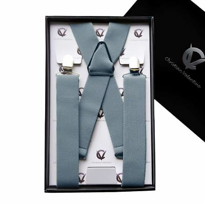 Men's Mid Grey X3.5cm Braces Suspenders Mens