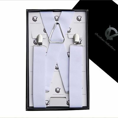 Men's White X3.5cm Braces Suspenders Mens