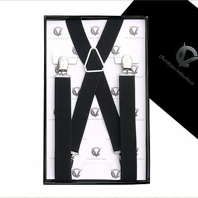 Men's Black X2.5cm Braces Suspenders Mens