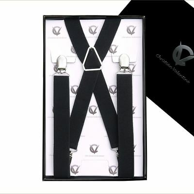 Men's Black X2.5cm Extra Large Braces Suspenders Mens