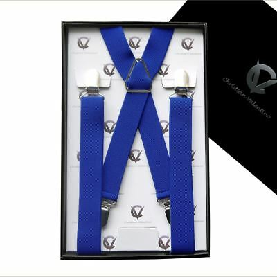 Men's Royal Blue X2.5cm Extra Large Braces Suspenders Mens