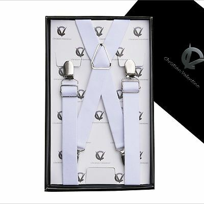 Men's White X2.5cm Extra Large Braces Suspenders Mens