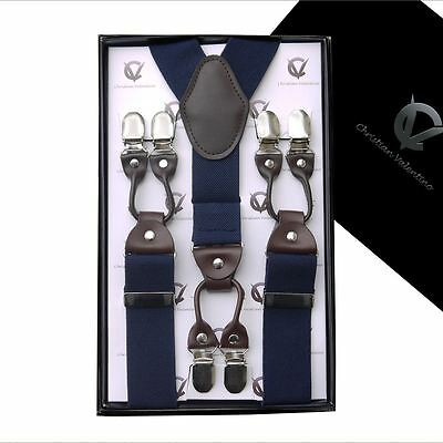Midnight Blue with Leather Attachment X3.5cm Extra Large Braces Suspenders Mens