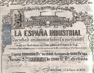 SUPERB 1854 2000 REALES INDUSTRIAL BOND of SPAIN w LOVELY RARE STAMPS (10 KINDS)