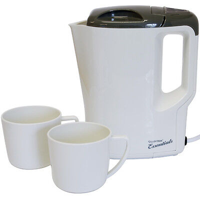 Lloytron E886 Essentail Travel Kettle With Cups White Boil Dry Protection Best