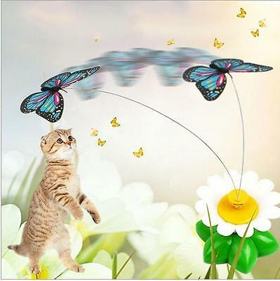 Funny Cat Kitten Electric Rotating Bird Butterfly Rod Teaser Play Toy UK STOCK