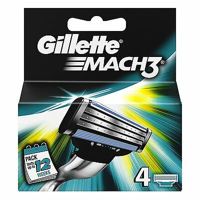 Gillette Mach 3 Shaving Razor Refill Blade Cartridges Genuine Pack of 4 Blades