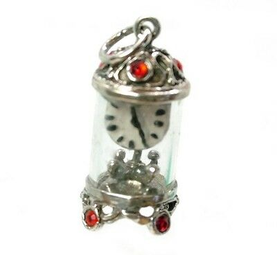 Vintage Silver Red Carriage Clock Charm