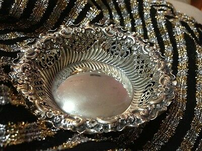 Antique Sterling Bowl With Beautiful Filgree Work So Romantic Very Nice