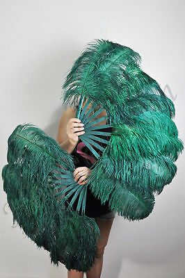 """A pair forest Green Single layer Ostrich Feather fan 24"""" x 41"""" with carrying box"""