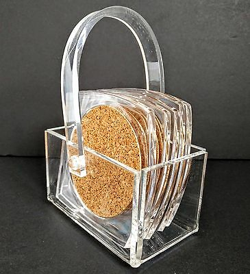 Clear Acrylic Cork Coaster Plexiglass Set of 5 w/Holder - Mat Set Made in Taiwan