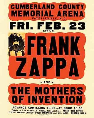 Frank Zappa   1970's   Vintage  Promotional  Concert  Poster   Fayetteville NC