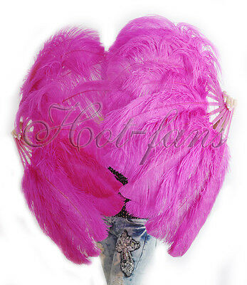 """A pair hot pink Single layer Ostrich Feather fans 24"""" x 41"""" with carrying box"""