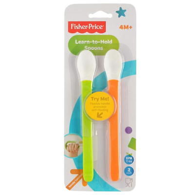FISHER PRICE LEARN TO HOLD SPOONS 2 Pack twist or bend long handle 4m+