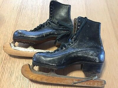 Vintage Hyde Black Leather Ice Skates Betty Lytle Wood Blade Covers Cabin Decor