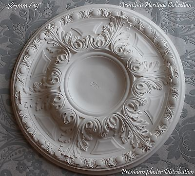 "Medium Acanthus Plaster Ceiling Rose  Center 485 mm / 19"" Hand Crafted Plasterwa"