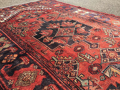 4x7 HAND KNOTTED PERSIAN IRAN RUG WOVEN MADE HERIZ ANTIQUE 4 x 7 wool 5 6 8 rust