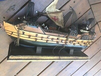 Vintage Wooden Model Sailing Ship Navio Espanol 1690 Antique Handmade