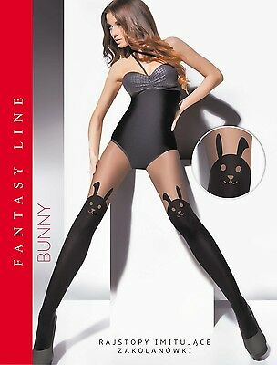 "WOMEN LADIES PATTERNED TIGHTS Imitating Hold Ups 20/60 Den ""BUNNY"" SIZE M-XXL**"