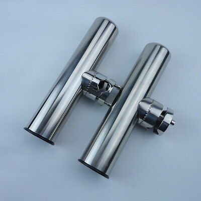 """2PCS S.S Clamp On Fish Rod Holder Rails 7/8"""" to 1"""" With Plastic Liner For Boat"""