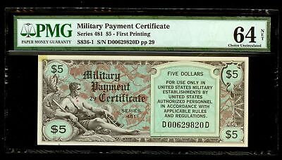 (1951) Series 481 $5 Military Payment Certificate First Printing Mpc Pmg Cu 64
