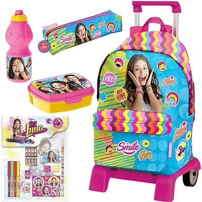 Mochila Soy Luna Disney Carro 41cm Set Portatodo School Bag Backpack Trolley