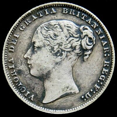 1867 Silver Great Britain Shilling Queen Victoria Coin Very Fine Condition Die 9