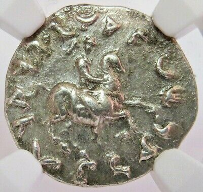 174- 165 Bc Silver Bactria Indo-Greeks Antimachus Ii Drachm Horseback Ngc Ch Xf